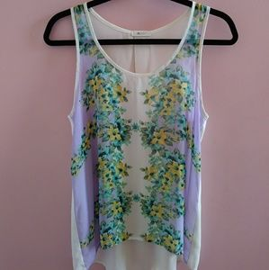 Everly Sheer Floral Tank Top M